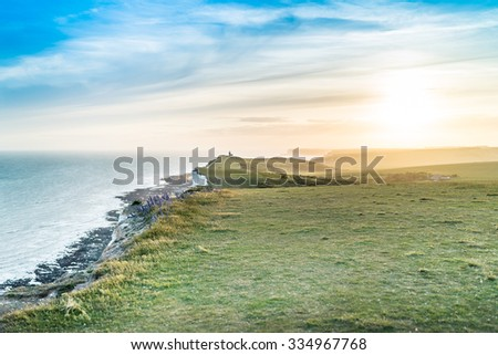 Seven sisters cliffs at English chanel coast, East Susex, England. - stock photo