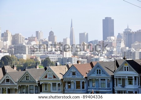 Seven Sisters in San Francisco-3 - stock photo