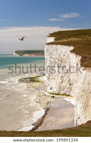 Seven Sisters National Park, view of the cliffs and the beach, East Sussex, England - stock photo