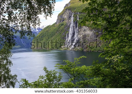Seven sisters waterfall in Geiranger fjord, Norway, view from Skagefla farm hike