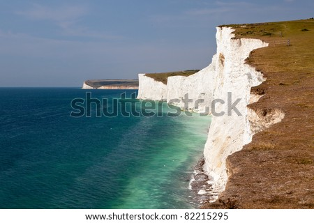 Seven Sisters White Cliffs South East England - stock photo