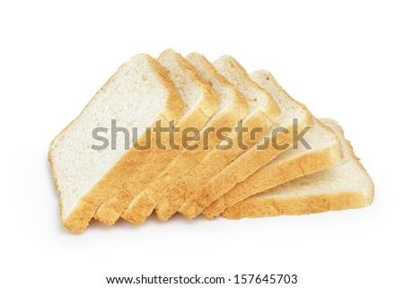 seven slices  of toast bread, isolated on white
