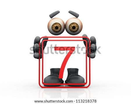 seven symbol on a white background - stock photo