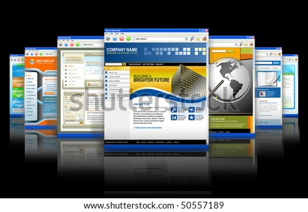 Seven technology internet business websites are standing upright with a reflection. There is one big one and smaller ones fading in back. Has black isolated background. - stock photo
