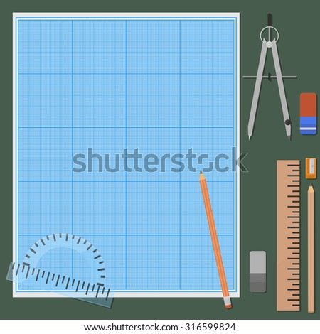 Seven things for mechanical drawing. Erasers and pencils in two variations, ruler, protractor, compasses, pencil sharpener, graph paper, plotting paper. - stock photo