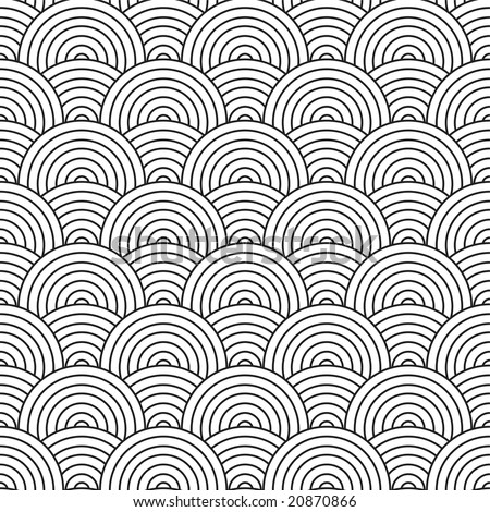 Seventies inspired artex design with flowing black and white circles