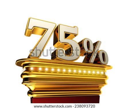 Seventy five percent figure on a golden platform with brilliant lights over white background - stock photo