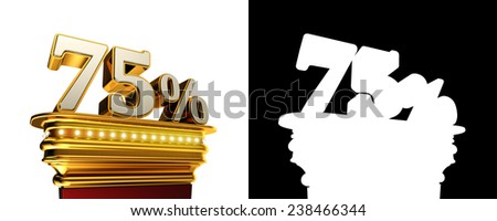 Seventy five percent figure on a golden platform with brilliant lights over white background with alpha map - stock photo