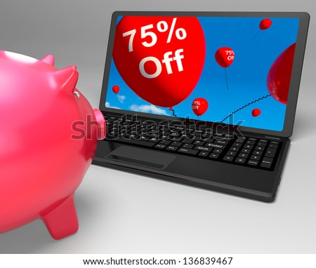 Seventy-Five Percent Off On Laptop Showing Great Offers And Promotions