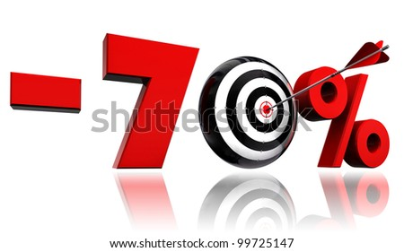 seventy per cent 70% red discount symbol with conceptual target and arrow on white background.clipping path included
