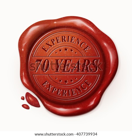 seventy years experience red wax seal over white background
