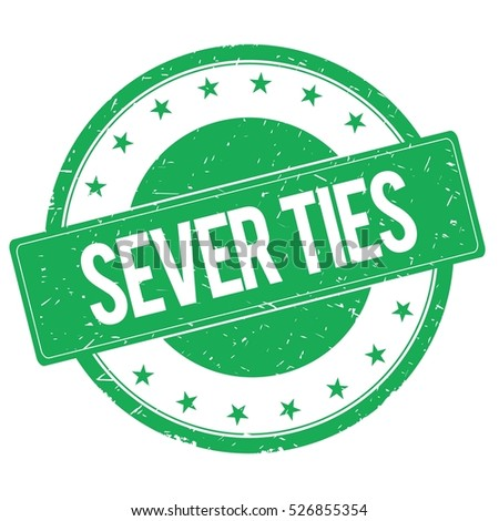 SEVER TIES stamp sign text word logo green.