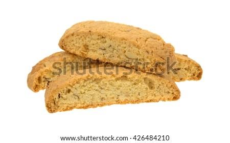 Several almond nut biscotti isolated on a white background. - stock photo
