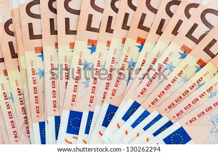 Several bills of 50 euros - stock photo