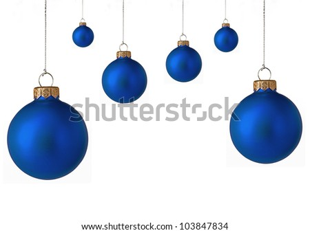 Several  blue christmas baubles - stock photo