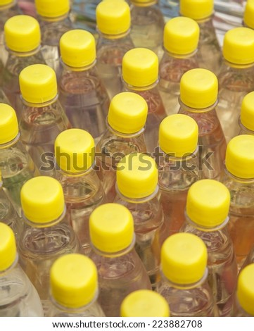 Several bottles with alcohol - stock photo