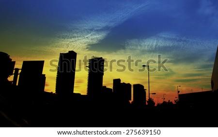 Several buildings at sunset  in Guadalajara, Jalisco, Mexico  - stock photo