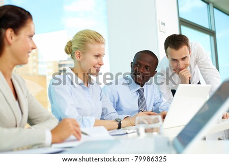 Several business people planning work in office