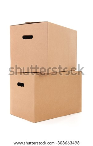 several carton boxes isolated over white background - stock photo