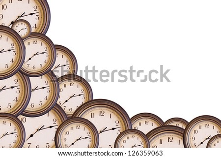 Several clocks isolated on white with space for your text
