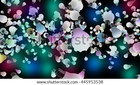 Several colored light bulbs flying in space. Colored lights are powered on. 3D Rendering - stock photo