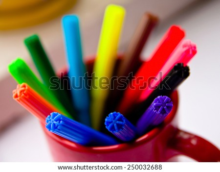 several colored markers - stock photo