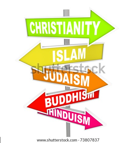 Several colorful arrow street signs with the names of five major world religions - Christianity, Islam, Judaism, Buddhism and Hinduism - stock photo