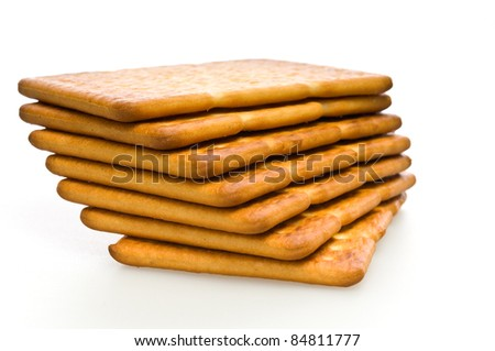 several crackers (cookies), and isolated as a background
