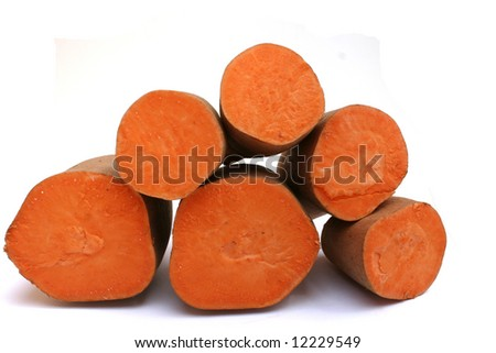 Several cut sweet potatoes