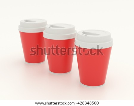 Several different paper cup set mock up with red blank for branding design or text. Group white plastic cups hot drinks isolated on white background with reflection. High resolution 3d illustration