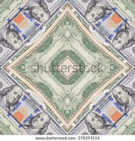 several dollar bills. kaleidoscope effect - stock photo