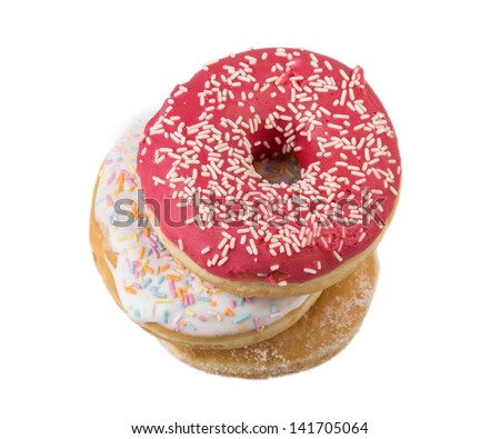 several donuts isolated on white background - stock photo
