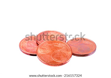 Several Euro cents coins isolated on white - stock photo