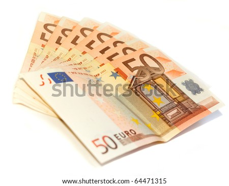 Several fifty euro banknotes isolated on white - stock photo