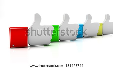 Several fingers up in 3d on white background - stock photo