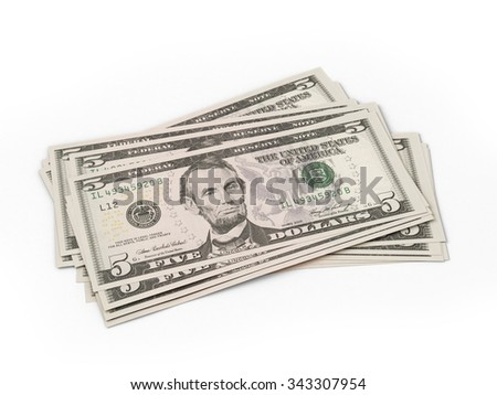 several five dollar bills on a white background - stock photo