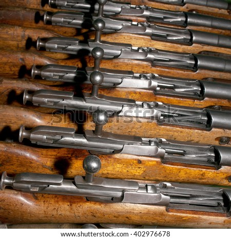 Several gates of the old military firearms - rifles discharged form - stock photo