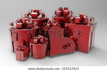 several gift boxes, round and square in shape of heart  3d illustration