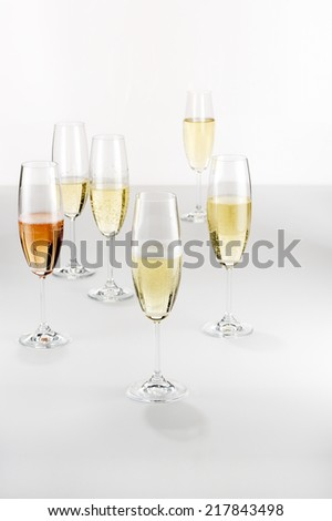 Several Glasses of Champagne - stock photo