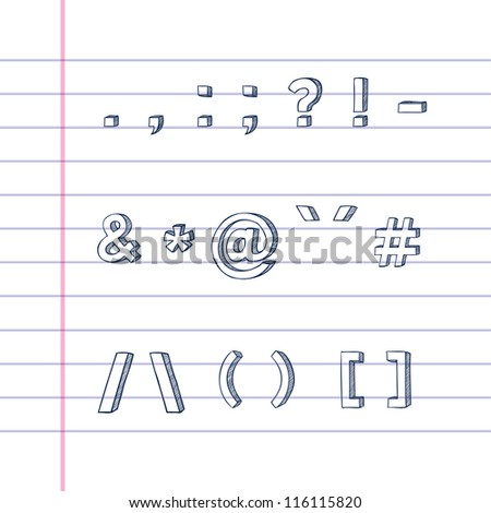 Several hand drawn text symbols on lined paper - stock photo