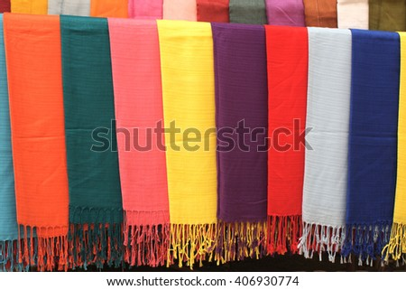 Several handmade scarves of different colors, Xang Hai village, Luang Prabang province, Laos
