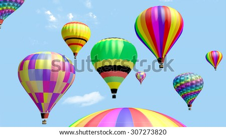 Several hot air balloon flying in the blue sky. 3d render. - stock photo