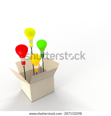 Several ideas emerging from an idea box. Metaphor concept. The light bulbs and pencil refer to ideas and creativity. - stock photo