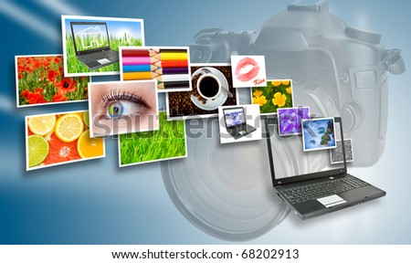 Several images from the camera via laptop. - stock photo