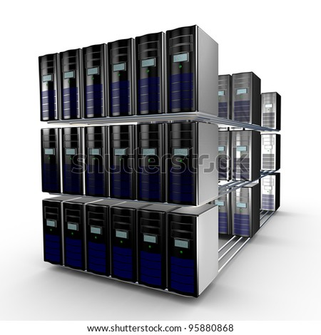 Several interconnected computer working together - stock photo