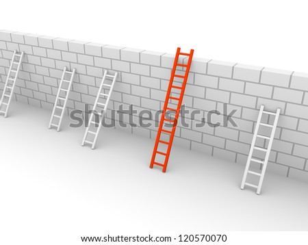Several ladders with different length leaning the brick wall. 3d rendering. - stock photo