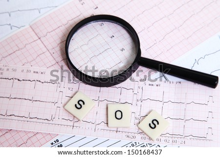 Several letters and a magnifying glass put on an electrocardiogram for an alarm message