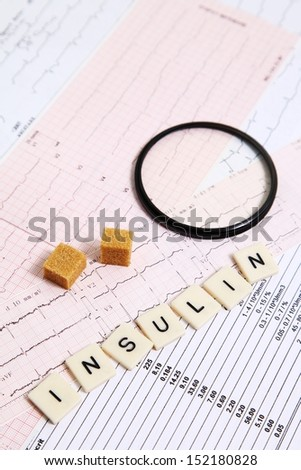 Several letters put on an electrocardiogram for an alarm message - stock photo