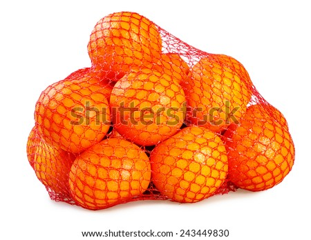 Several mandarins in net. Isolated on white background.