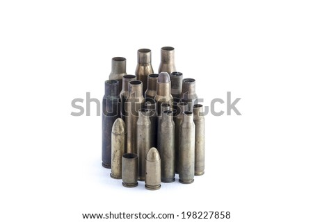 several 9mm hollow point bullets  - stock photo